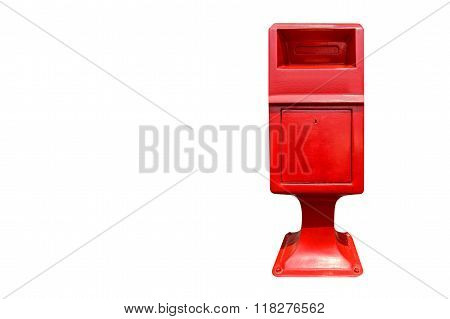 Red Postbox Isolated On White Background With Space For Text Or Symbol.