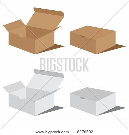 White and brown box packaging. Packaging Design. Vector Box Packaging Design.