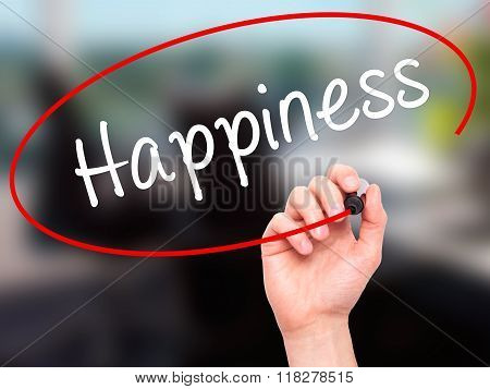 Man Hand Writing Happiness With Black Marker On Visual Screen