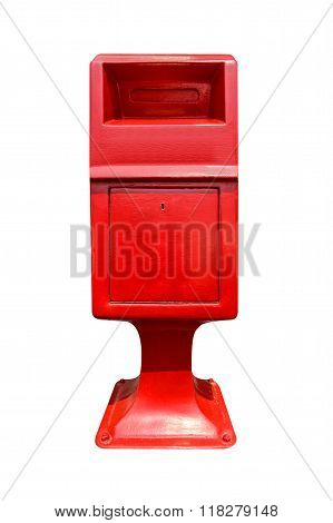 Red Postbox Isolated On White Background.