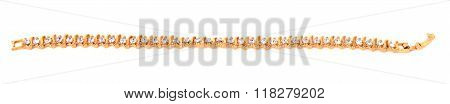 Golden chain bracelet with diamands isolated on the white background poster