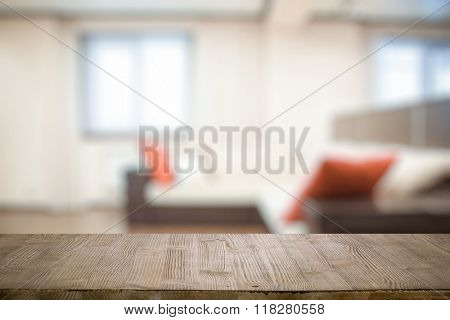 old vintage wooden table in the living room
