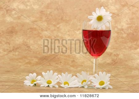 White daisies and red wine