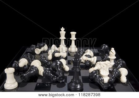 Chess Battle Black And White Scattered