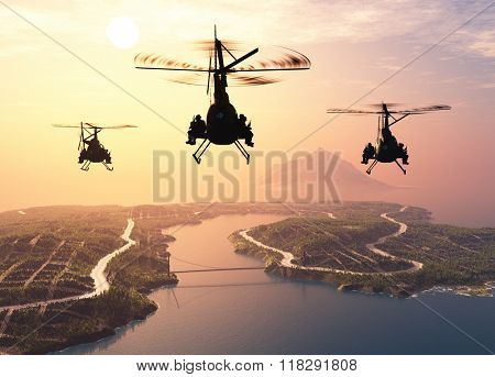 Military helicopter over the island ..