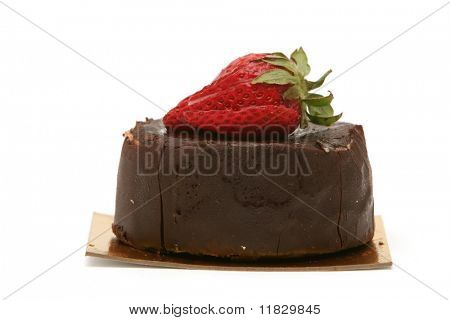 Chocolate cake with strawberry on top