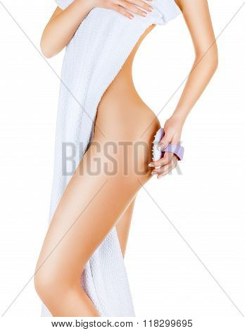 Slim woman doing cellulite massage isolated on white background poster