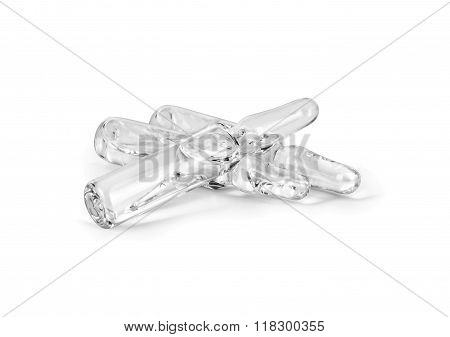 Medical Ampoules On White Background