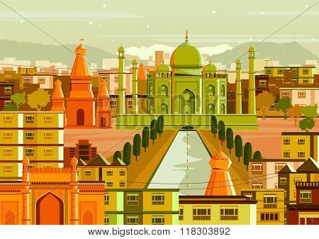 Taj Mahal with different building in India