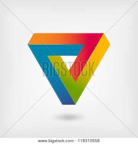 Penrose triangle multicolor abstract symbol