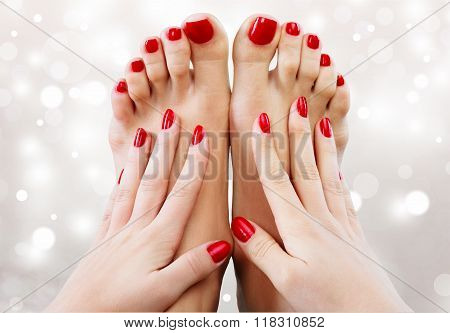 Beautiful red pedicure spa closeup hands pedicure white red poster
