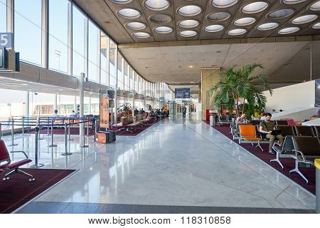 PARIS, FRANCE - SEPTEMBER 10, 2014: interior of Charles de Gaulle Airport. Paris Charles de Gaulle Airport, also known as Roissy Airport, is one of the world's principal aviation centres.