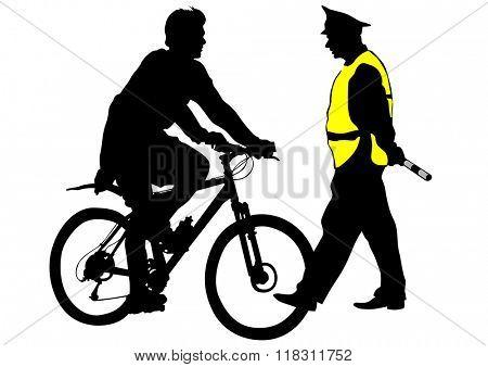 Sport man whit bike on white background