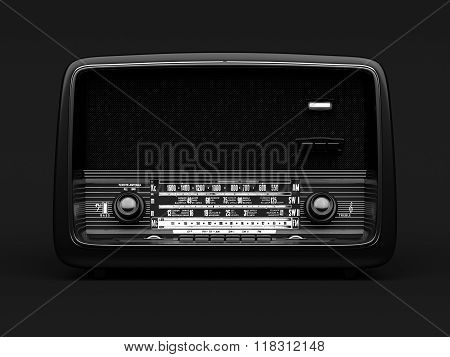 Vintage radio on a black background