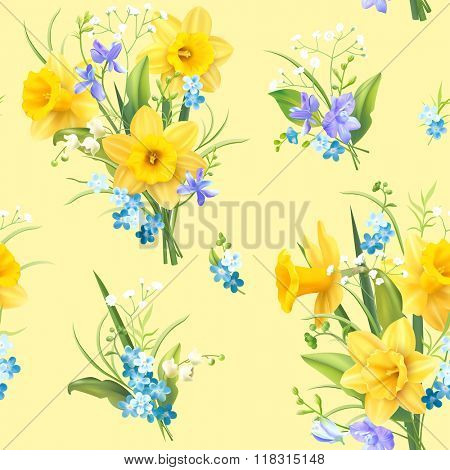 Seamless delicate pattern with spring flowers. Vector illustration.