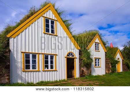 The recreated village -  museum of first settlers in Iceland.  Village of ancestors