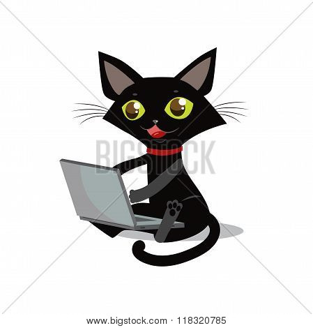 The Cat Is Sitting. Vector Cat. Cat And Laptop. Curious Cat. Cat Designer. Cat Freelancer. Cat Smile. Cat On A White Background. Vector Illustration. Image Cat. Crafty Animal. Sly Cat. Cat Prankster.