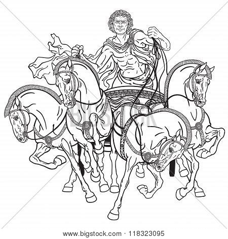 quadriga black and white
