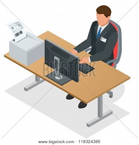 Businessman looking at the laptop screen. Businessman at work. Man working at the computer. Order fr