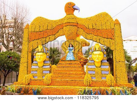 Sphinx And Cleopatra Made Of Lemons And Oranges In The Famous Carnival Of Menton, France. Fete Du Ci