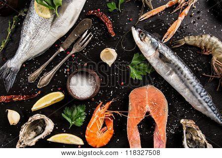 Fresh seafood on black stone, close-up.