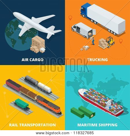 Logistic realistic icons set of air cargo, trucking, rail transportation, meritime shipping. On-time