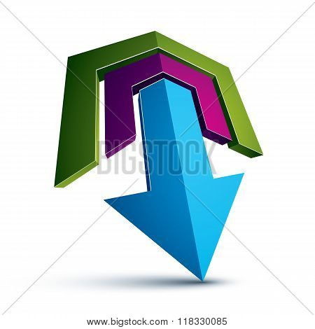 3D Abstract Symbol With An Arrow. Business Development And Success Concept Vector Design Element, In