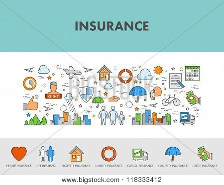 Line Design Concept Web Banner And Icons For Insurance.