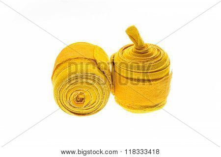 Yellow Boxing Wraps Or Bandages Isolated On White