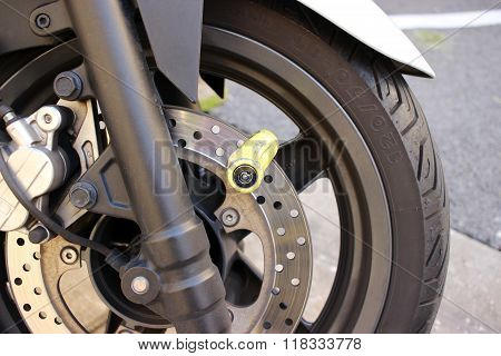Motorbike Disc Brake Lock Close-up
