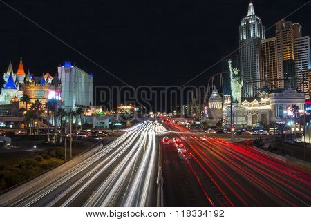 Las Vegas, Nevada, United States - January 2015: Car trails on the Strip in Las Vegas