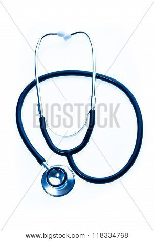 Stethoscope In Blue Isolated On White