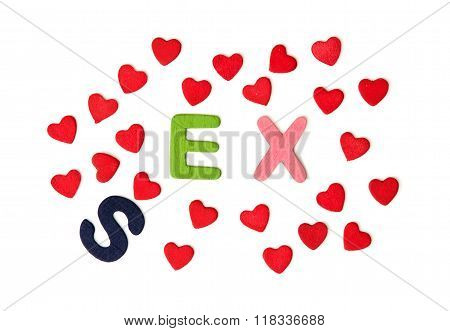 Colorful Title Sex Or Ex With Red Hearts On The White Background