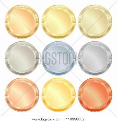 vector set of medals from various types of metal