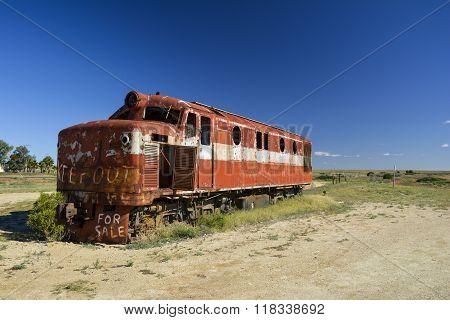 Old Ghan locomotive in the Australian Outback, Marree