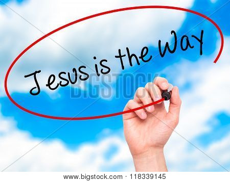 Man Hand Writing Jesus Is The Way With Black Marker On Visual Screen