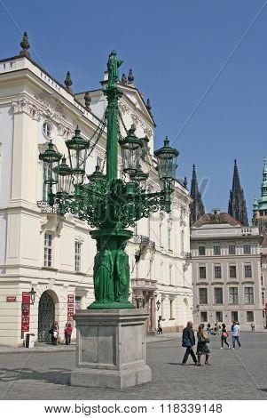Prague, Czech Republic - April 24, 2010: Old Lantern On The Hradcany Square In Prague, Czech Republi