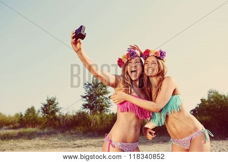 twins taking a photo