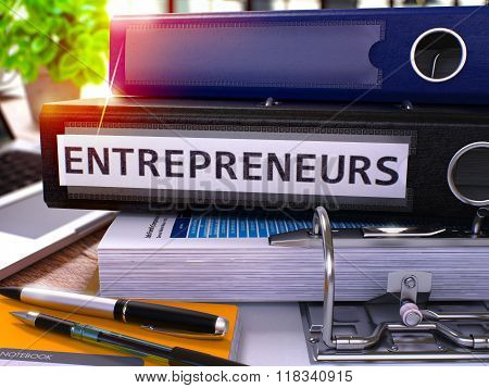 Black Office Folder with Inscription Entrepreneurs.