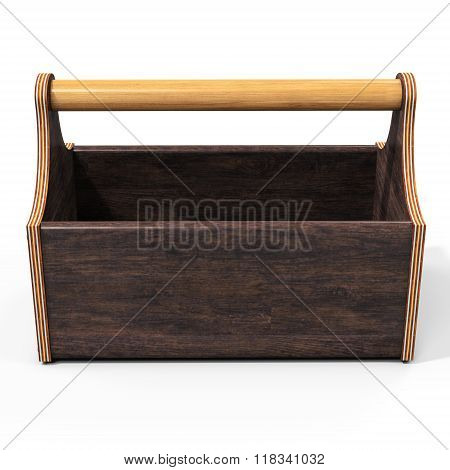 3D Empty Wooden Toolbox