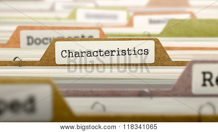 Characteristics Concept. Folders in Catalog.
