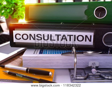 Black Office Folder with Inscription Consultation