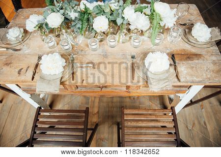 Wedding Room Decorated Loft Style With A Table And Accessories
