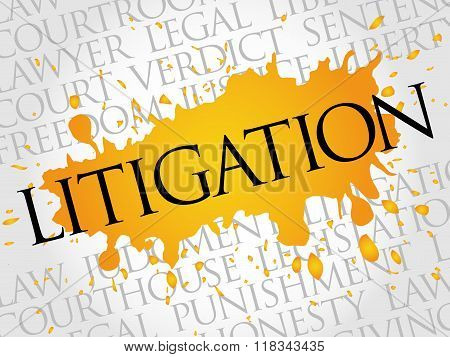 Litigation word cloud collage concept, presentation background