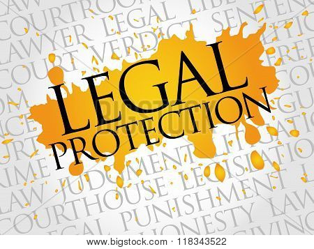 Legal Protection word cloud concept, presentation background