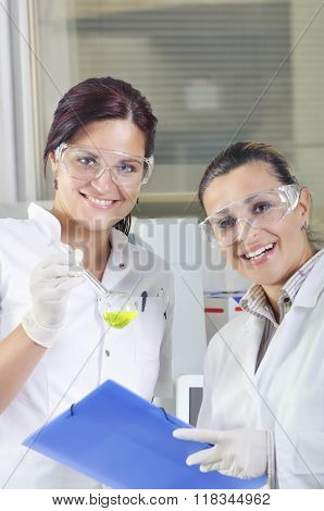 Attractive Young Phd Students Scientists Observing The Green Indicator Color Shift After The Solutio