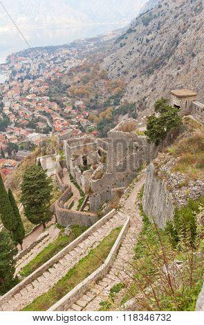 Walls Of St John Castle (xv C.) In Kotor, Montenegro