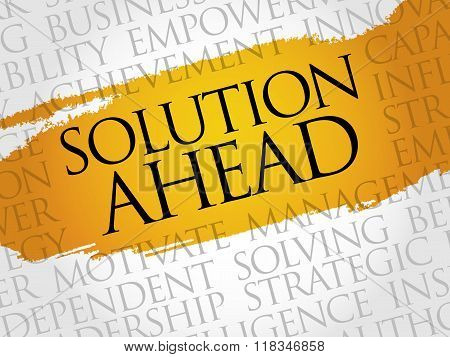 Solution ahead word cloud business concept, presentation background