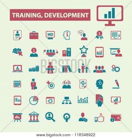 training development icons, business training icons, training concept