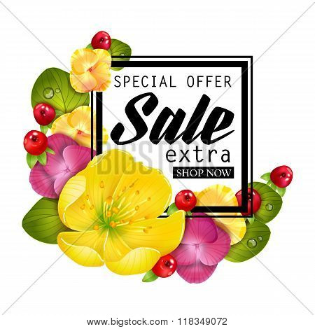 Special offer for sale temlate with frame of flowers